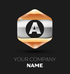 Silver letter a logo in silver-golden hexagonal vector