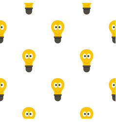 Smiling light bulb with eyes pattern flat vector