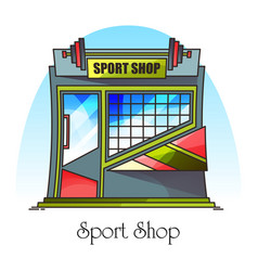 Sport shop or fitness accessories store building vector