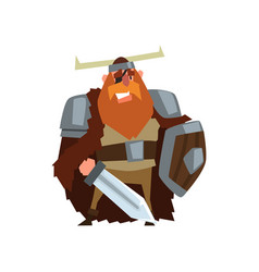 Strong viking warrior character with sword and vector