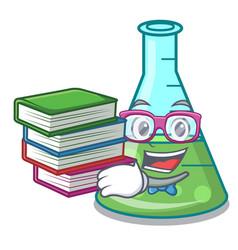 Student with book science beaker mascot cartoon vector