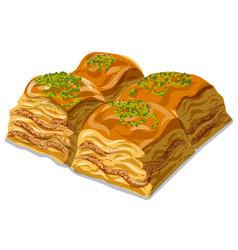Sweet dessert baklava vector