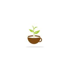Tea cup green leaf nature logo vector