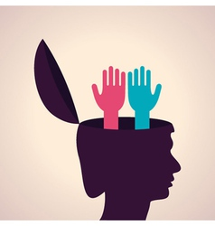 Thinking concept-Human head with hand symbol vector