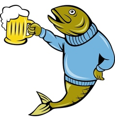 Trout fish holding a beer mug vector image