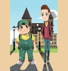 two boys vector image