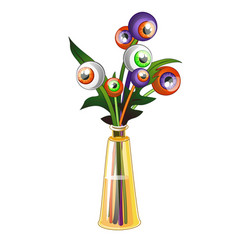 unusual bouquet of colored human eyes isolated on vector image