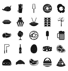 Very harmful food icons set simple style vector
