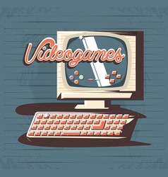 video game retro with computer vector image