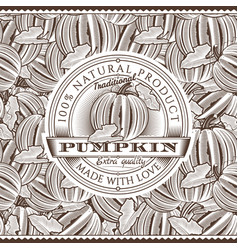 Vintage pumpkin label on seamless pattern vector