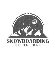 vintage snowboarding label vector image
