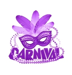 Violet carnival icons mask and sign vector image