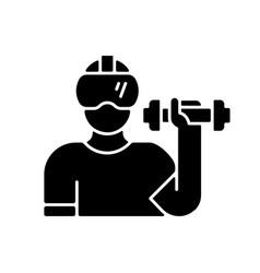 Virtual reality fitness black glyph icon vector