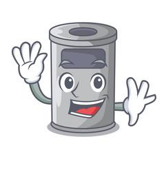 waving cartoon steel trash can in the door vector image
