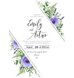 wedding floral invite save date design vector image