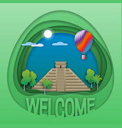 Welcome to chichen itza travel concept emblem vector