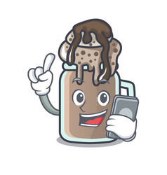 With phone milkshake character cartoon style vector