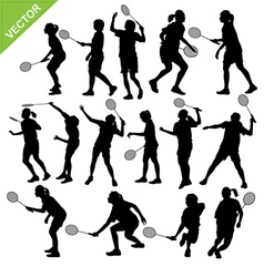 Women silhouettes play Badminton vector image