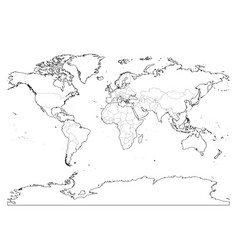 world map outline thin country borders and thick vector image