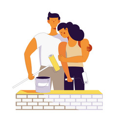 young couple family on house building vector image