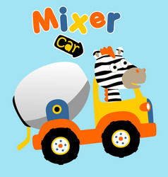 Zebra drive a mix truck cartoon vector
