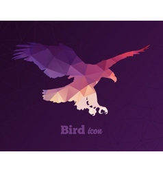 Colorful animal icon of triangles eagle vector