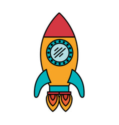 colorful silhouette of space rocket with two vector image vector image