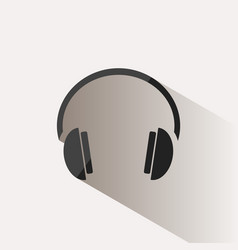 headphones icon on a beige background with shade vector image