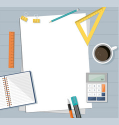 paper with ruler pencil pen coffee vector image