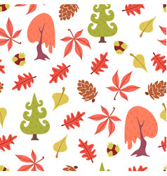 seamless pattern of autumn plants and leaves vector image vector image