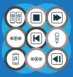 set of 9 audio icons includes run song back vector image vector image