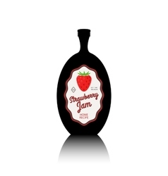 Strawberry jam black bottle with label vector image