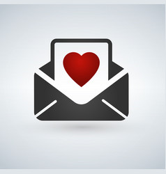 valentine day card envelope color line flat icon vector image