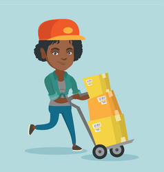 Woman-postman pushing the trolley with parcels vector