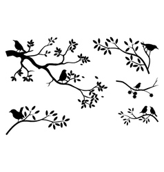 collection of tree silhouette with bird vector image vector image