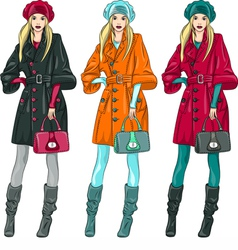 fashion girls in a coat vector image vector image