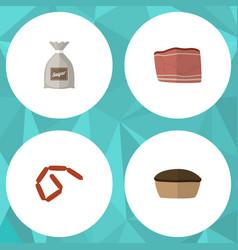 Flat icon food set of tart sack bratwurst and vector