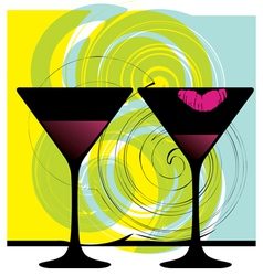 glasses of wine vector image vector image