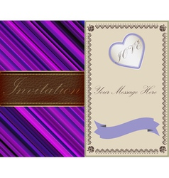 Invitation cards in an old-style gold and leather vector image