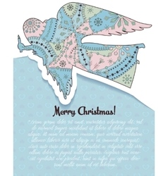 Merry Christmas card with angel colorful vector image