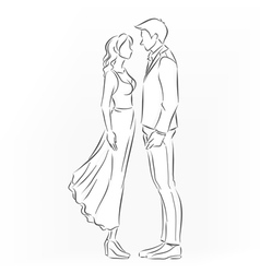 romantic couple that want to kiss vector image vector image