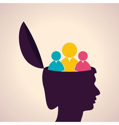 Thinking concept-human head with people icon vector