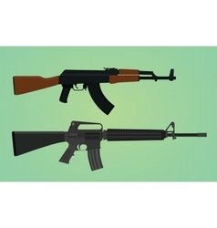 ak-47 vs m16 comparation with green backround vector image