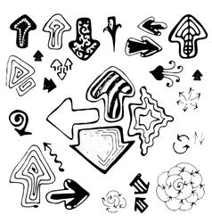 Doodle Sketch Hand Drawn Arrows Set vector image vector image