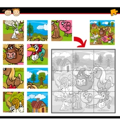 Farm animals jigsaw puzzle game vector