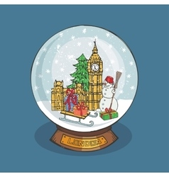 London Christmas Snow globeDoodle landmark vector image