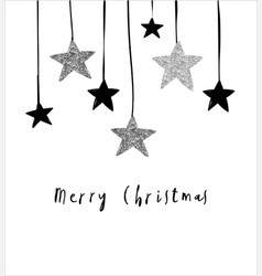 merry christmas greeting card with hanging stars vector image vector image