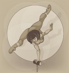Pinup circus artist silhouette inkpen Balancing vector image