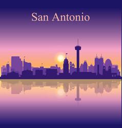 san antonio silhouette on sunset background vector image