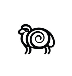 black and white drawing of sheep vector image